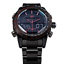 ASJ Hombre Reloj de Pulsera Cuarzo Cuarzo Japonés LED LCD Calendario Cronógrafo Resistente al Agua Dos Husos Horarios alarmaAcero
