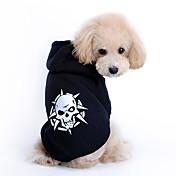 Perros Saco y Capucha Negro Ropa para Perro Primavera/Otoño Cráneos Moda