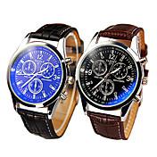 Correa de piel de alta calidad de tres salpicadero reloj de cuarzo ocasional vaso de blue ray