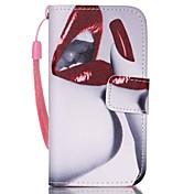 Modelo rojo de labios cuero de la PU caja del teléfono carta invertida material para el iphone 4 / 4s