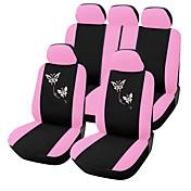 9 PCS 설정 카시트 유니버설 적합 나비 자수 디자인을위한 핑크 자동차 액세서리 커버