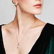 Mujer Juego de Joyas Pendientes cortos Collares con colgantes Perla La imitación de diamante Diseño Básico Moda Europeo Elegant joyería