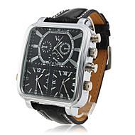 V6 Herren Militäruhr Armbanduhr Drei-Zeit-Zonen Quartz Japanischer Quartz PU Band Schwarz