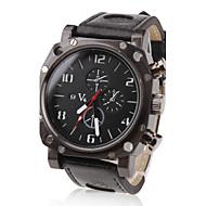 V6 Herren Militäruhr Armbanduhr Quartz Japanischer Quartz PU Band Schwarz Schwarz