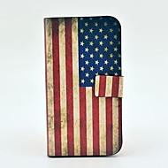 Voor Samsung Galaxy hoesje Kaarthouder / met standaard / Flip / Patroon / Magnetisch hoesje Volledige behuizing hoesje Vlag PU-leer