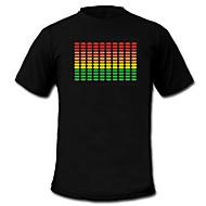LED-t-shirts Ljudaktiverade LED lampor Tyg XS S M L XL XXL Nationalflagga Svart 2 AAA Batterier