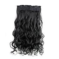 24 polegadas 120g longo clipe encaracolado sintético preto em extensões de cabelo com 5 clips
