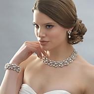 Dame Smykke Sæt Dråbeøreringe Perlehalskæde Perle Lyserød Elegant Brude kostume smykker Perle Rhinsten Sølvbelagt Legering Cirkelformet
