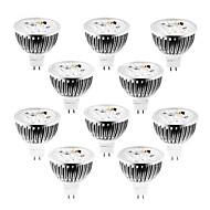 4w gu5.3 (mr16) led 스포트 라이트 mr16 320 lm 따뜻한 / 시원한 / 자연 흰색 디 밍이 가능한 dc / ac 12 v 10 pc