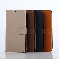 Na Samsung Galaxy Etui Portfel / Etui na karty / Z podpórką / Flip Kılıf Futerał Kılıf Jeden kolor Twarde Skóra naturalna na SamsungJ7