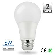 zdm ™ 2db vanlite e27 6W 500lumen led lámpa a60 otthoni meleg fehér, természetes fehér válassza energiatakarékosság (ac220-240v)