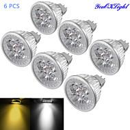 Youoklight® 6pcs mr16 4w φωτισμός με 4 φωτισμό 4 οδηγήσεων ζεστό λευκό / κρύο λευκό φως 3000 / 6000k 320-350lm (dc 12v)