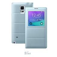 Varten Samsung Galaxy Note Ikkunalla / Flip Etui Kokonaan peittävä Etui Yksivärinen Tekonahka Samsung Note 4