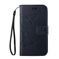 Voor Samsung Galaxy hoesje Hoesje cover Portemonnee Kaarthouder met standaard Flip Reliëfopdruk Volledige behuizing hoesje Vlinder Zacht