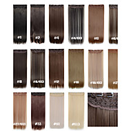 κλιπ σε επεκτάσεις τρίχας 24inch 60 εκατοστά 120g 5clips μακριά ίσια συνθετική τρίχα επέκταση συνθετικά μαλλιά 16 χρώματα