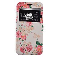 Mert Samsung Galaxy tok Kártyatartó / Ütésálló / Porálló / Állvánnyal Case Teljes védelem Case Virág Puha Műbőr SamsungA9(2016) /