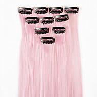 neitsi 10pcs 18inch έγχρωμη επισήμανση συνθετικών κλιπ για τα μαλλιά επεκτάσεις σε ανοιχτό ροζ