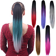 Μακρύ κατ 'ευθείαν χρώμα αλογοουρά χρώμα των γυναικών συνθετική φθηνή επέκταση μαλλιών cosplay κόμμα