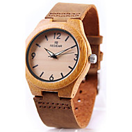 Heren Dames Sporthorloge Armbandhorloge Horloge Hout Japans Kwarts Chronograaf Punk Echt leer Band Vintage Bangle armband Cool