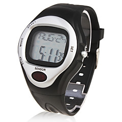 Herre Armbåndsur Digital LCD Pulsmåler Kalender Kronograf alarm Gummi Bånd Sort Sort