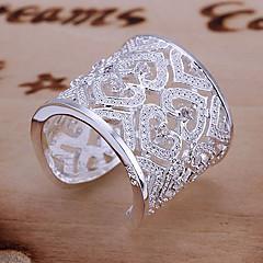 Dame Statement-ringe Manchet ring Unikt design Kærlighed Brude Elegant luksus smykker kostume smykker Sølv Rhinsten Hjerteformet Smykker