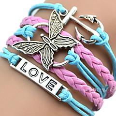 Dames Meisjes ID Armbanden Lederen armbanden Wikkelarmbanden Uniek ontwerp Liefde Hart Europees Inspirerend Initial Jewelry gevlochten