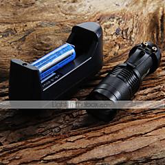 Mini LED zseblámpa 7W 300LM CREE Q5 LED zseblámpa állítható fókusz Nagyítás Flashlight + 14.500 3.6V akkumulátor akkutöltő