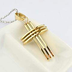 Herre Halskædevedhæng Krydsformet Titanium Stål Guldbelagt Mode kostume smykker Smykker Til Daglig Afslappet Julegaver