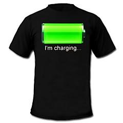 LED 티셔츠 LED 불이 깜빡이는 사운드 면 잡다한 것 2 AAA 배터리