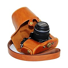 14-42mm 렌즈와 올림푸스 OM-D 전자 M10 용 어깨 끈과 dengpin® 가죽 보호 카메라 케이스 오일 피부