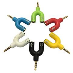 3.5mm mikrofon 3.5mm stereo 4-pozisyon fiş& pc için kulaklık jakı adaptörü (çeşitli renk)