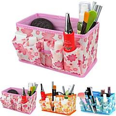 összecsukható virágmintás kozmetikai tároló állvány doboz smink ecset edény kozmetikai szervező