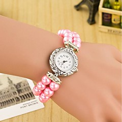 Dames Modieus horloge Polshorloge Armbandhorloge Kwarts Leer Band Parels Meerkleurig Wit Rood Blauw Roze