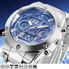 ASJ Herren Sportuhr Armbanduhr Japanisch Quartz LCD Kalender Chronograph Wasserdicht Duale Zeitzonen Alarm Edelstahl Band Luxuriös Silber