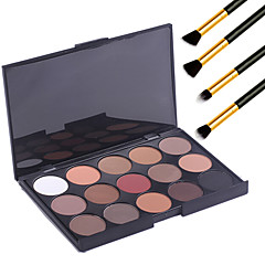 15 kleuren professionele warme make-up naakt oogschaduw mat shimmer palet cosmetische + 4 stuks potlood make-up borstel