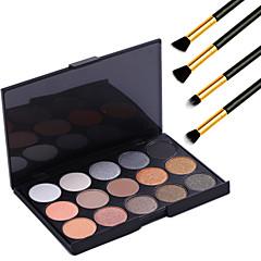 15 kleuren professionele warme make-up naakt oogschaduw parel licht shimmer palet cosmetische + 4 stuks potlood make-up borstel