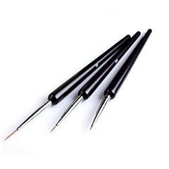 3pcs pontilham pintura desenho uv gel liner ferramenta pincel caneta polonês da arte do prego set
