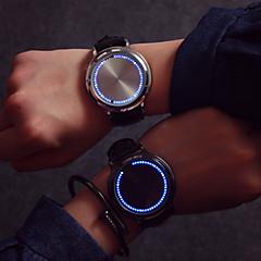 남성 패션 시계 독특한 창조적 인 시계 손목 시계 LED 터치스크린 석영 가죽 밴드 창의적 멋진 블랙