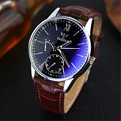 YAZOLE Herren Armbanduhr Quartz Japanischer Quartz Leder Band Bequem Braun