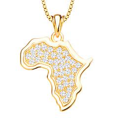 아프리카지도 크리스탈 펜던트 보석 세팅의 18K 골드 여성 / 남성 p30135 흰색 시뮬레이션 다이아몬드 펜던트 도금