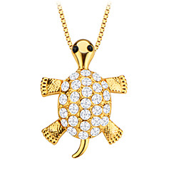 귀여운 거북이 동물 크리스탈 보석 펜던트 18K 골드 남성 / 여성 선물 p30138 도금