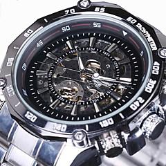 WINNER Heren Polshorloge mechanische horloges Hol Gegraveerd Automatisch opwindmechanisme Roestvrij staal Band Luxueus Zilver