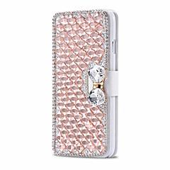 luxe glimmende diamant vol pu lederen case cover met veilig gesp mobiele telefoon bling case voor de iPhone 5 / 5s