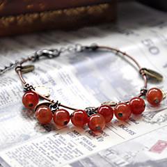 Damskie Bransoletki Strand Modny Paciorki Słodkie Style Agat Materiał Round Shape Wiśniowy Owoc Biżuteria Na Codzienny Casual