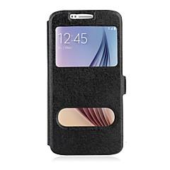 For Samsung Galaxy Note Med stativ Med vindue Flip Etui Heldækkende Etui Helfarve Kunstlæder for Samsung Note 5 Note 4 Note 3 Note Edge