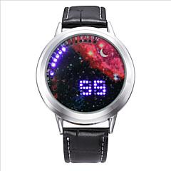 Męskie Modny Cyfrowe LED Srebrzysty Gwiaździsty Skóra Pasmo Czarny Black Silver