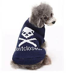 Koty Psy Swetry Ubrania dla psów Zima Czaszki Codzienne Zatrzymujący ciepło Black Gray Niebieski Różowy