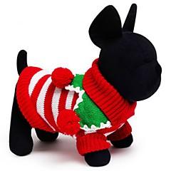 고양이 개 스웨터 강아지 의류 겨울 모든계절/가을 스트라이프 휴일 따뜻함 유지 크리스마스 화이트 레드 그린