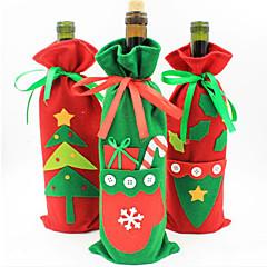 decorações de natal os novos sacos do presente conjunto garrafa de champanhe vinho de saco de doces de Natal produtos cor aleatória