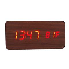 활성화 된 음성 및 터치 - raylinedo® 최신 디자인 패션 갈색 나무 붉은 빛 나무 디지털 알람 시계 - 시간 온도 날짜 표시를 주도